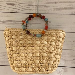 Cappelli Straw Purse with Jeweled Handles